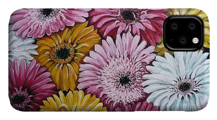 Flower Paintings Daisy Paintings Floral Paintings Blooms Color .gerbera Daisy Paintings Greeting Card Painting S Canvas Painting Poster Print Paintings IPhone Case featuring the painting Gebera Daisies by Karin Dawn Kelshall- Best
