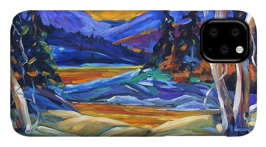 Canadian Landscape Created By Richard T Pranke IPhone 11 Case featuring the painting Geo Landscape II By Prankearts by Richard T Pranke