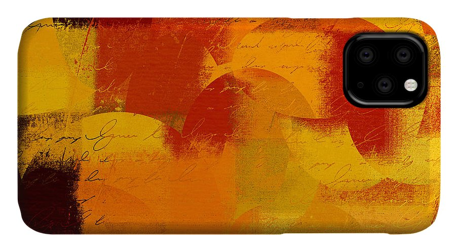 Orange IPhone 11 Case featuring the digital art Geomix 05 - 01at01b by Variance Collections
