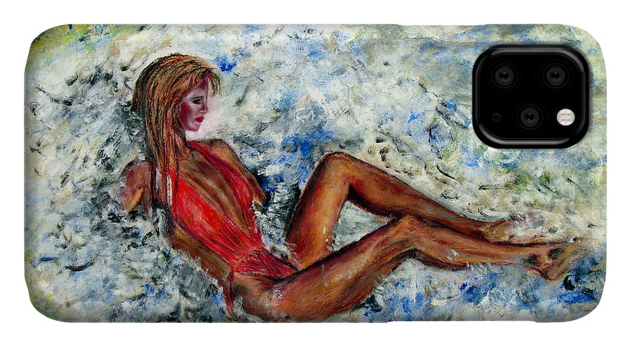 Girl IPhone Case featuring the painting Girl In A Red Swimsuit by Tom Conway