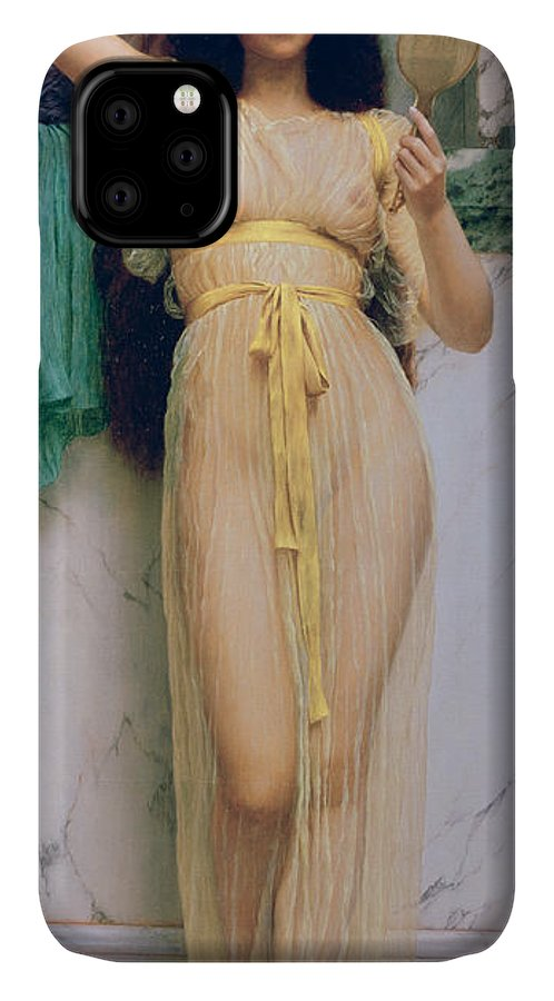 Girl With A Mirror IPhone Case featuring the painting Girl With A Mirror by John William Godward