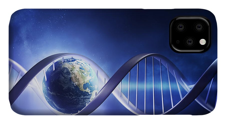 Dna IPhone Case featuring the photograph Glowing Earth Dna Strand by Johan Swanepoel