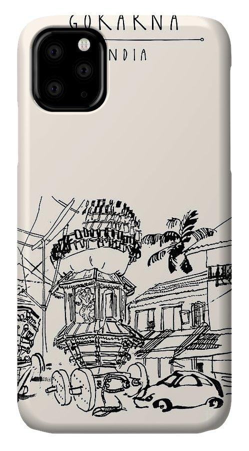 Hindu Festival IPhone Case featuring the digital art Gokarna, Karnataka, India. Vector by Babayuka