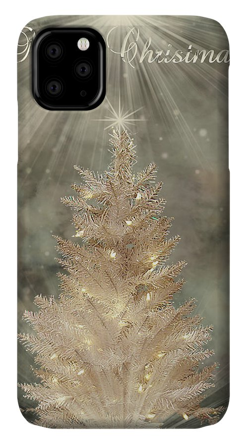 Christmas Cards IPhone Case featuring the digital art Golden Christmas Tree by Kristie Bonnewell