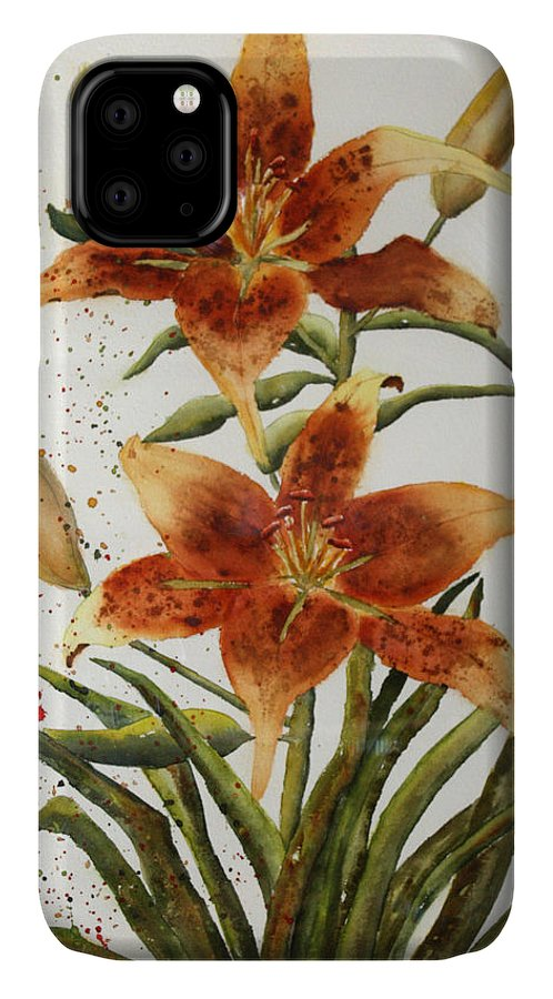 Lilies IPhone Case featuring the painting Golden Lilies by Patricia Novack