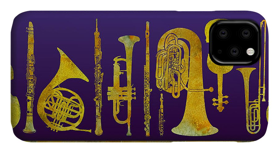 Orchestral IPhone Case featuring the digital art Golden Orchestra by Jenny Armitage