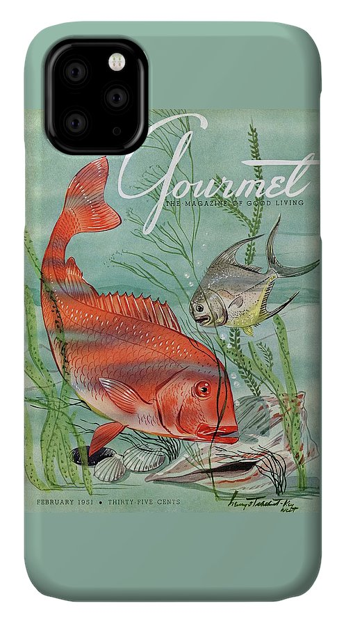 Illustration IPhone Case featuring the photograph Gourmet Cover Featuring A Snapper And Pompano by Henry Stahlhut