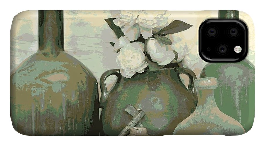 Photo IPhone Case featuring the photograph Green Vases Still Life by Marsha Heiken