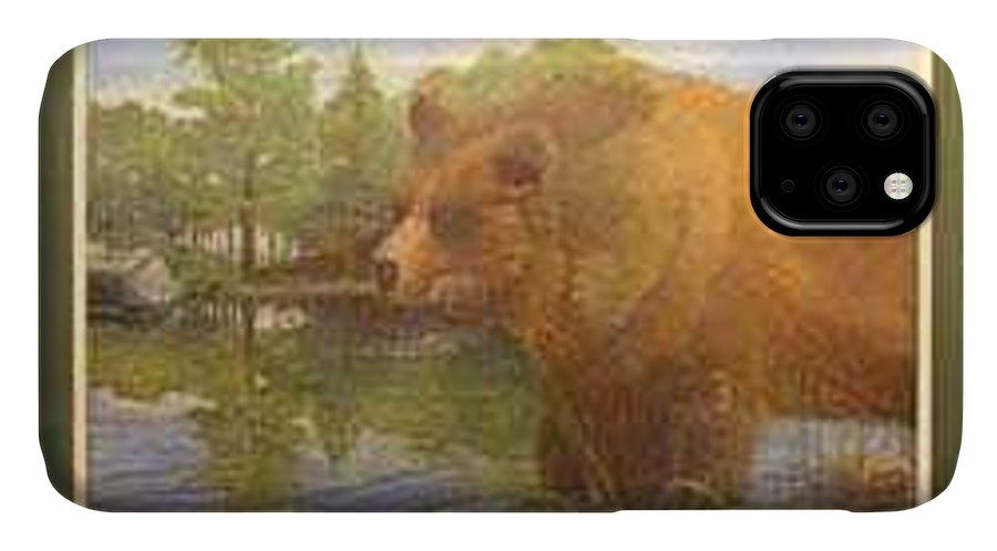 Rick Huotari IPhone Case featuring the painting Grizzly by Rick Huotari