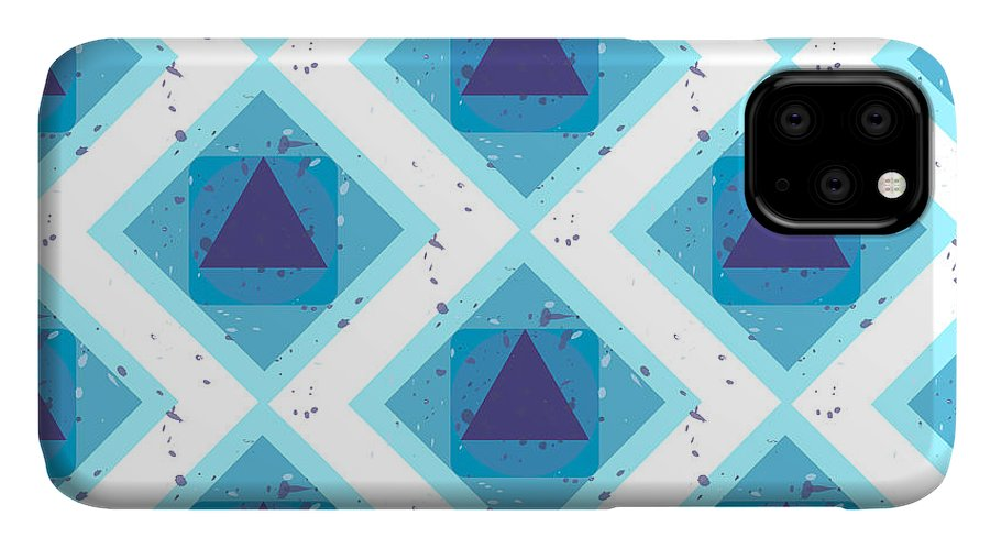 Color IPhone 11 Case featuring the digital art Grunge Colorful Abstract Geometric by Barsrsind