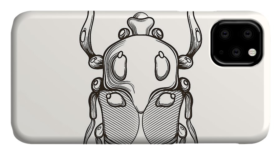 Shield IPhone Case featuring the digital art Hand Drawn Engraving Sketch Scarab by Panki