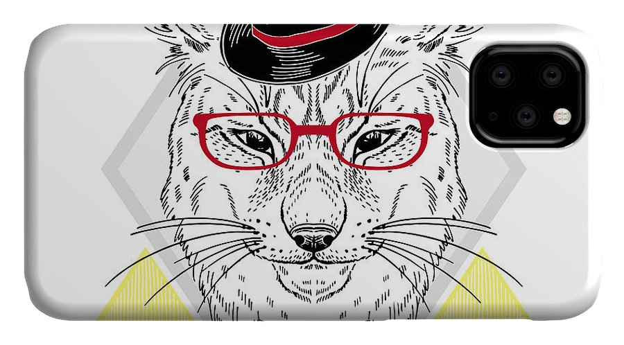 Dress IPhone Case featuring the digital art Hand Drawn Portrait Of Hipster Lynx In by Olga angelloz