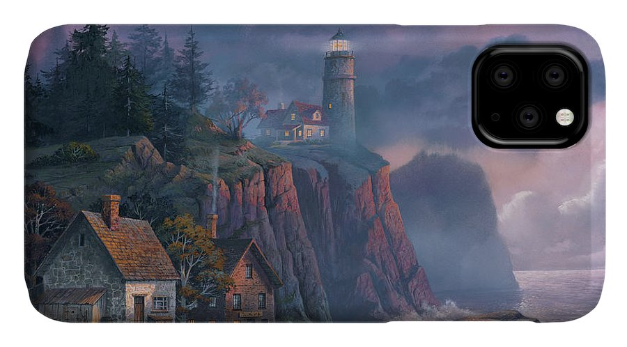 Michael Humphries IPhone Case featuring the painting Harbor Light Hideaway by Michael Humphries