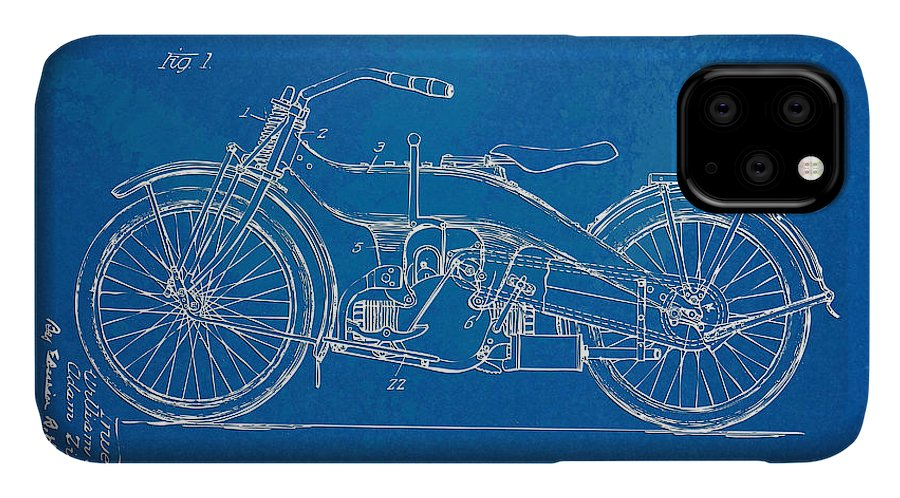 Harley-davidson IPhone Case featuring the digital art Harley-davidson Motorcycle 1924 Patent Artwork by Nikki Marie Smith