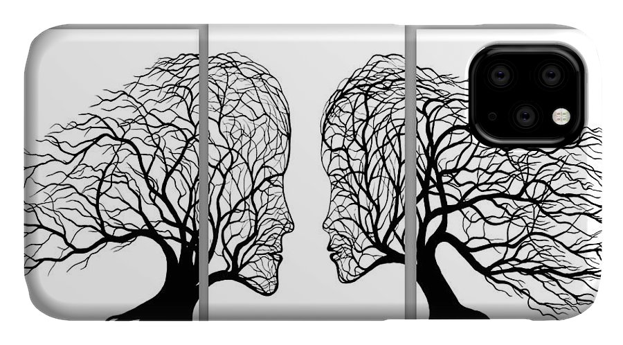 Black And White Painting IPhone Case featuring the painting He And She In Love Triptych Acrylic On Canvas by Georgeta Blanaru