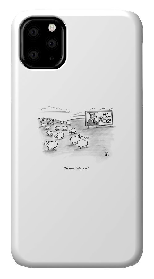 Sheep IPhone Case featuring the drawing He Tells It Like It Is by Paul Noth