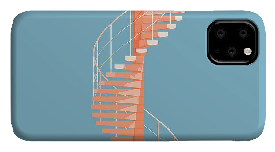 Architecture IPhone Case featuring the digital art Helical Stairs by Peter Cassidy