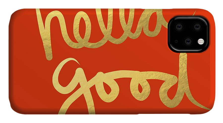 Hella Good IPhone Case featuring the painting Hella Good In Orange And Gold by Linda Woods