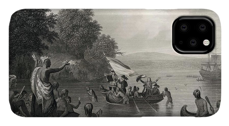 Discovers IPhone Case featuring the drawing Henry Hudson Discovering The Hudson by Mary Evans Picture Library