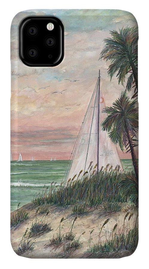 Sailboats; Palm Trees; Ocean; Beach; Sunset IPhone Case featuring the painting Hideaway by Ben Kiger