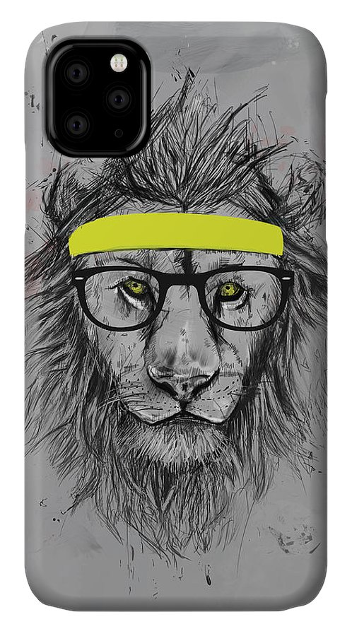 Lion IPhone Case featuring the drawing Hipster lion by Balazs Solti