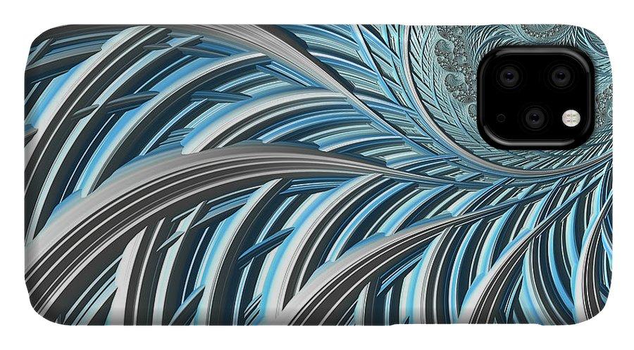 #art #print #fractal #blue #happijar IPhone 11 Case featuring the digital art Hj-btr by Vix Edwards