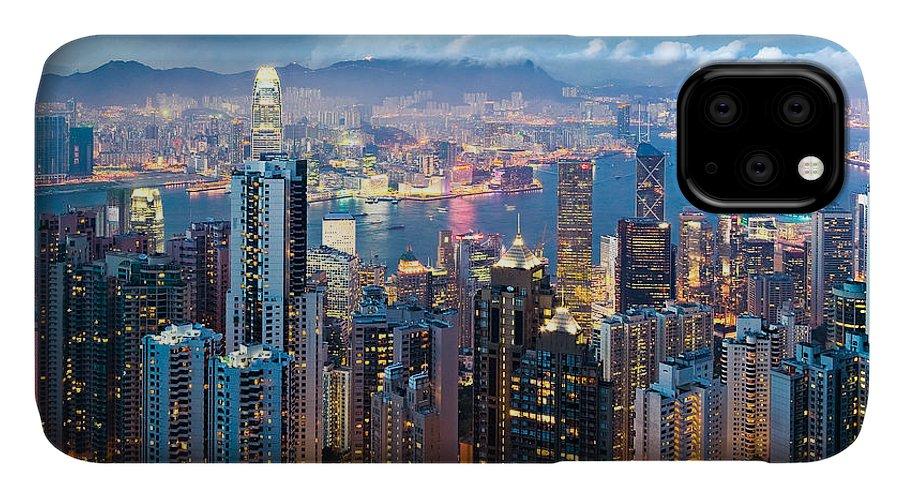 Hong Kong IPhone Case featuring the photograph Hong Kong At Dusk by Dave Bowman