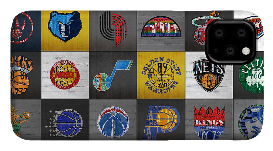 Hoop IPhone 11 Case featuring the mixed media Hoop It Up Recycled Vintage Basketball League Team Logos License Plate Art by Design Turnpike