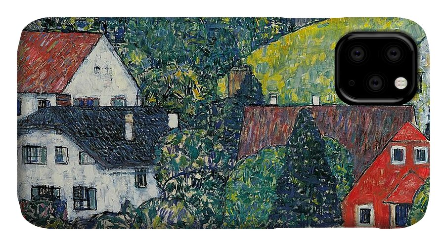 Klimt IPhone 11 Case featuring the painting Houses At Unterach On The Attersee by Gustav Klimt