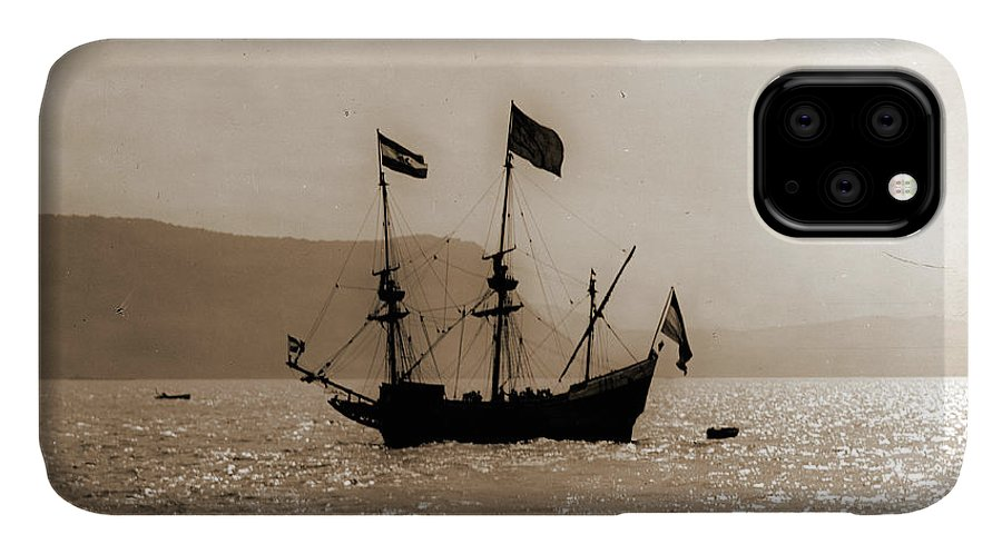 Hudson's Half Moon IPhone Case featuring the drawing Hudsons Half Moon On Hudson, Half Moon Ship Replica by Litz Collection