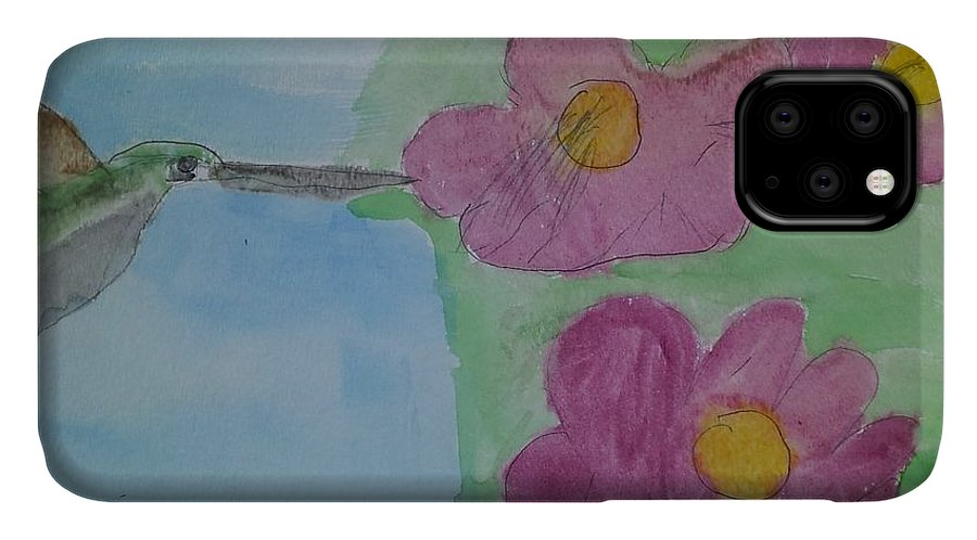 Animal Print IPhone 11 Case featuring the painting Hummingbird by Epic Luis Art