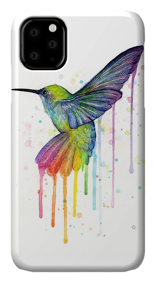 Hummingbird IPhone Case featuring the painting Hummingbird of Watercolor Rainbow by Olga Shvartsur