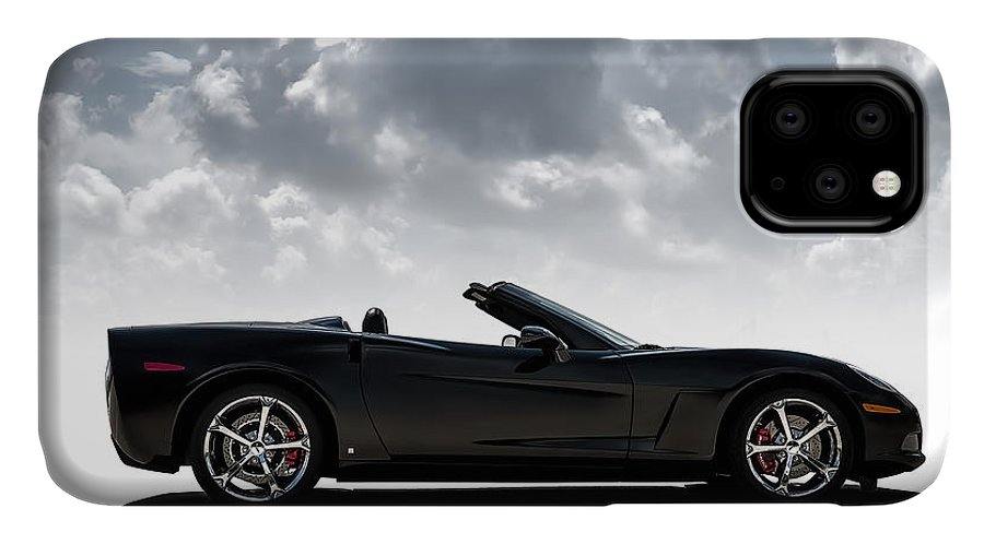 Corvette IPhone 11 Case featuring the digital art I Take Mine Black by Douglas Pittman