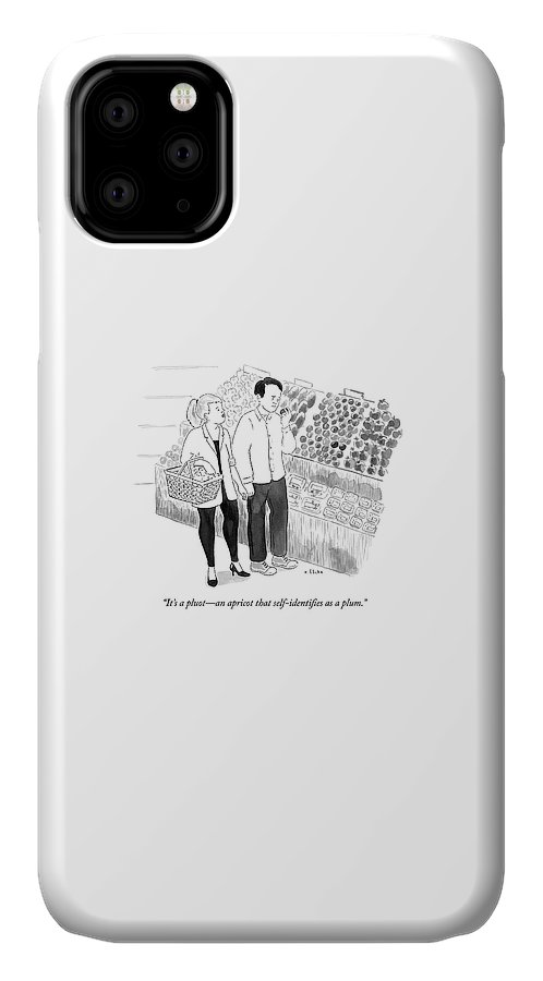 Identifying IPhone Case featuring the drawing In The Produce Section Of A Grocery Store by Emily Flake