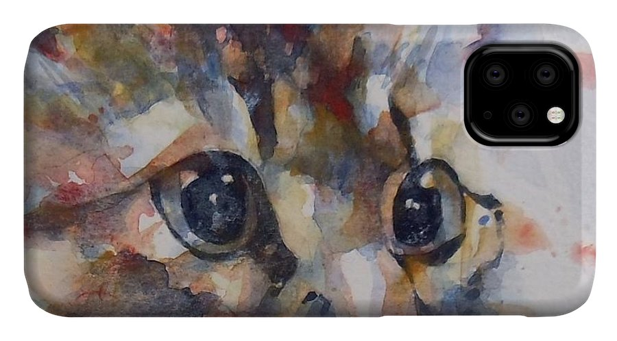 Cat IPhone Case featuring the painting Intent by Paul Lovering