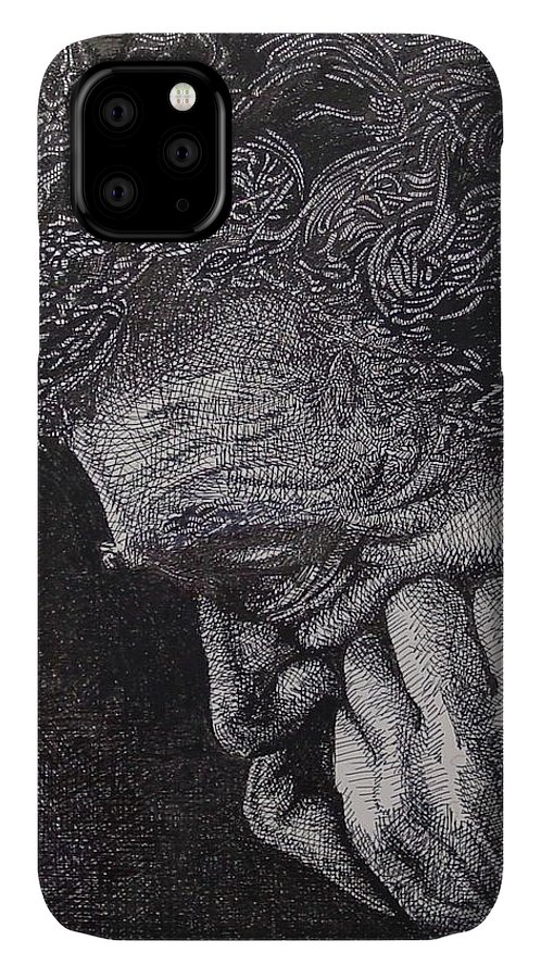 Portraiture IPhone Case featuring the drawing Introspection by Denis Gloudeman