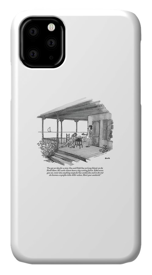 Marriage IPhone Case featuring the drawing I've Got An Idea For A Story: Gus And Ethel Live by George Booth