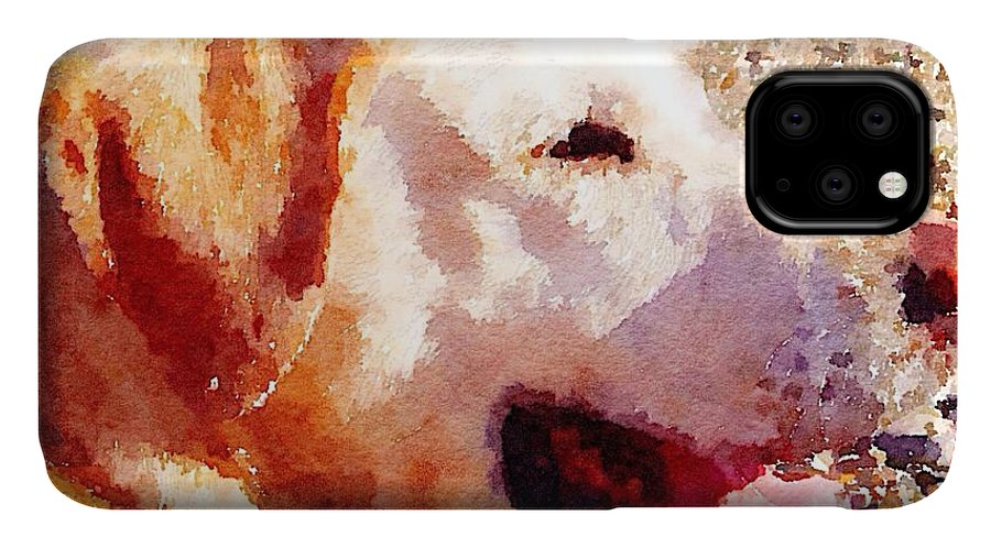 Labrador IPhone 11 Case featuring the painting Jake by Vix Edwards