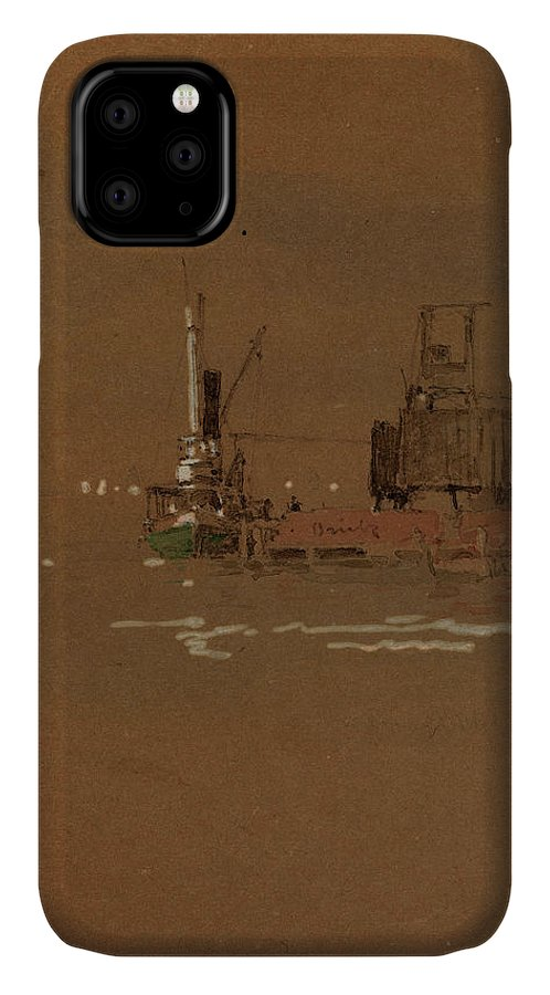 Jasper IPhone Case featuring the drawing Jasper Francis Cropsey, Hudson River Brick Piers by Quint Lox