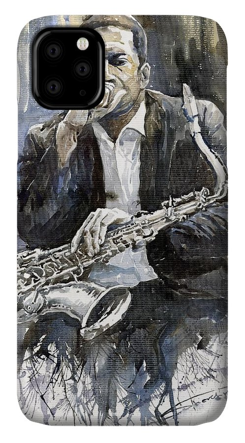Jazz IPhone Case featuring the painting Jazz Saxophonist John Coltrane Yellow by Yuriy Shevchuk