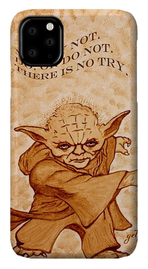 Master Yoda Sayings IPhone Case featuring the painting Jedi Yoda Wisdom by Georgeta Blanaru