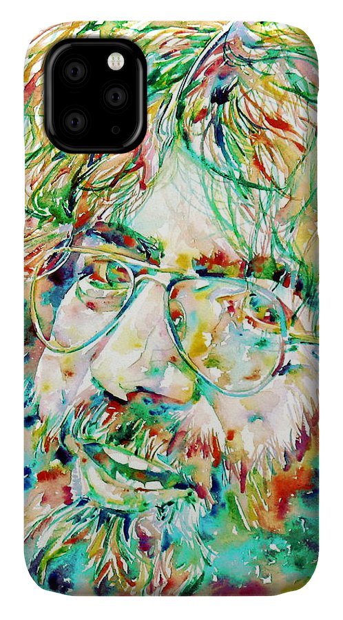 Jerry IPhone Case featuring the painting Jerry Garcia Watercolor Portrait.1 by Fabrizio Cassetta