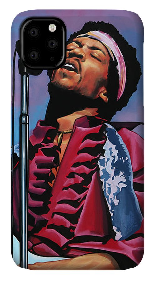 Jimi Hendrix IPhone 11 Case featuring the painting Jimi Hendrix 2 by Paul Meijering