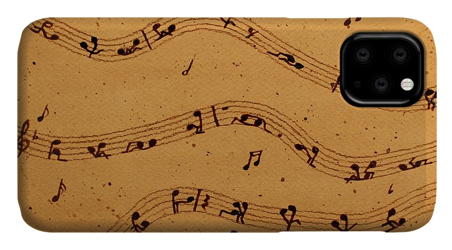 Abstract Music IPhone Case featuring the painting Kamasutra Music Coffee Painting by Georgeta Blanaru