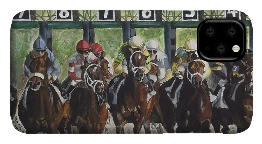 Acrylic IPhone 11 Case featuring the painting Keeneland by Kim Selig