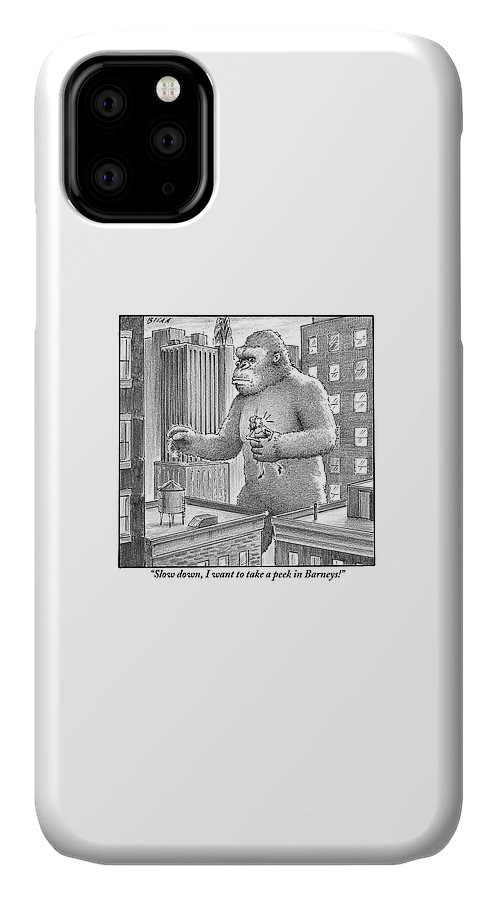 King IPhone Case featuring the drawing King Kong Stands In A Large City by Harry Bliss
