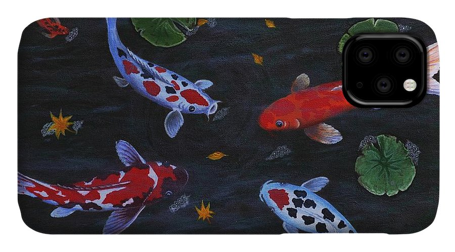 Koi Fish IPhone Case featuring the painting Koi Fishes Original Acrylic Painting by Georgeta Blanaru