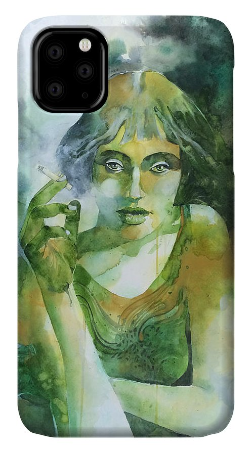 Girl IPhone Case featuring the painting La ragazza che fumava gauloises by Alessandro Andreuccetti