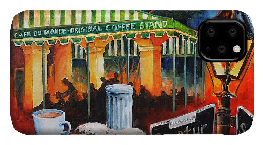 New Orleans IPhone 11 Case featuring the painting Late At Cafe Du Monde by Diane Millsap