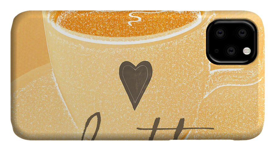 Latte IPhone Case featuring the painting Latte Love In Orange And White by Linda Woods